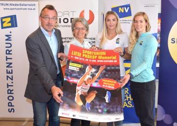 Meetingdirektor Gottfried Lammerhuber, Sportlandesrätin Petra Bohuslav, Ivona Dadic und Beate Schrott präsentierten das 11. Liese Prokop Memorial (v.l.n.r.)
