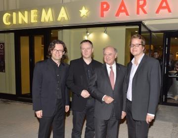 Eröffnung des Cinema Paradiso Baden: Mag. Alexander Syllaba, Mag. Clemens Kopetzky, Landeshauptmann Dr. Erwin Pröll, Mag. Gerald Knell (v.l.n.r.)