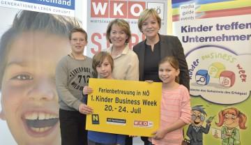 Erste NÖ Kinder Business Week: Die Präsidentin der NÖ Wirtschaftskammer Sonja Zwazl und Landesrätin Dr. Barbara Schwarz informierten über das neue Angebot