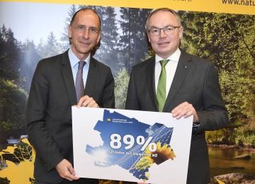 Univ.Prof. Dr. Peter Filzmaier und Umwelt-Landesrat Dr. Stephan Pernkopf präsentierten die Ergebnisse der Umweltumfrage Niederösterreich. (v.l.n.r.)