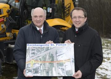 Landeshauptmann Dr. Erwin Pröll und Bürgermeister Mag. Matthias Stadler: Kerntangente Nord in St. Pölten steht kurz vor der Realisierung.