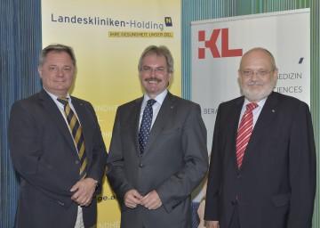 Neuerungen bei Ärzte-Ausbildung: Dr. Markus Klamminger (NÖ Landeskliniken-Holding), Landesrat Mag. Karl Wilfing, Rektor Prof. Dr. Rudolf Mallinger (Karl Landsteiner Privatuniversität) (v.l.n.r.)
