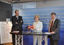 Präsentation der neuen Leistungsvereinbarung: Wissenschaftsminister Heinz Faßmann, Landeshauptfrau Johanna Mikl-Leiter und  IST Austria Präsident Thomas Henzinger (von links nach rechts).