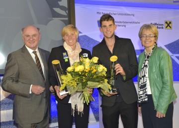 Im Bild von links nach rechts: Landeshauptmann Dr. Erwin Pröll, Corinna Kuhnle, Dominic Thiem und Landesrätin Dr. Petra Bohuslav.