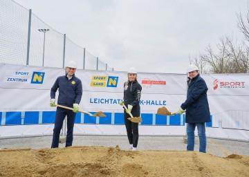 Sportlandesrat Jochen Danninger, Ivona Dadic, Bürgermeister Matthias Stadler