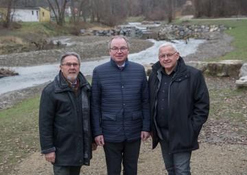 Im Bild von links nach rechts: Landesfischermeister Karl Gravogl, LH-Stellvertreter Stephan Pernkopf und Bürgermeister Johann Hell