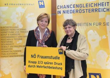 Landesrätin Mag. Barbara Schwarz und Prof. Dr. Rotraud A. Perner (von links) präsentierten in St. Pölten die NÖ Frauenstudie 2014/2015 zum Thema Belastungsfaktor Beruf.