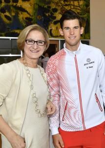 Landeshauptfrau Johanna Mikl-Leitner mit der österreichischen Nummer 1 im Tennis, Dominic Thiem