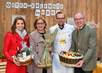 Im Bild von links nach rechts: ORF Moderatorin Kristina Inhof, Landeshauptmann-Stellvertreterin Mag. Johanna Mikl-Leitner, Haubenkoch Michael Kolm und Agrar-Landesrat Dr. Stephan Pernkopf.