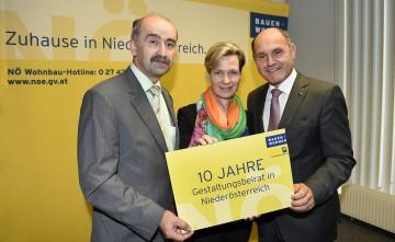Im Bild von links nach rechts: Abteilungsleiter Mag. Helmut Frank, Architektin DI Anne Mautner-Markof und Landeshauptmann-Stellvertreter Mag. Wolfgang Sobotka.