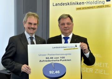 Patientenzeugnis von 92,46 von 100 Zufriedenheits-Punkten für die NÖ Landeskliniken: Landesrat Mag. Karl Wilfing und Dr. Markus Klamminger, stellvertretender Geschäftsführer der NÖ Landeskliniken-Holding. (v.l.n.r.)