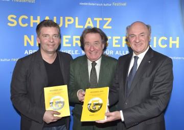 """Präsentierten das Programm von \""""Grafenegg 2015\"""":  der Composer in Residence Matthias Pintscher, der Künstlerische Leiter Prof. Rudolf Buchbinder und Landeshauptmann Dr. Erwin Pröll (von links nach rechts)."""