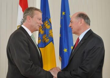 Antritts- und Arbeitsbesuch von Wirtschaftsminister Dr. Reinhold Mitterlehner bei Landeshauptmann Dr. Erwin Pröll