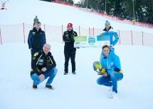 Viktor Babushchak (hinten v.l.), Franz Steiner, Bürgermeister Hermann Doppelreiter, (vorne v.l.) und Michaela Dorfmeister freuen sich auf den Riesentorlauf am Semmering.