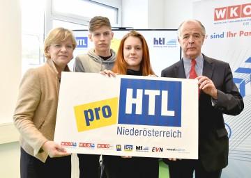 """Initiative \""""proHTL NÖ\"""" bringt Extra-Geld für innovative Schulprojekte: Landesrätin Mag. Barbara Schwarz und Initiator KommR Veit Schmid-Schmidsfelden, Geschäftsführer der Fertinger GmbH, präsentierten die neue Aktion."""