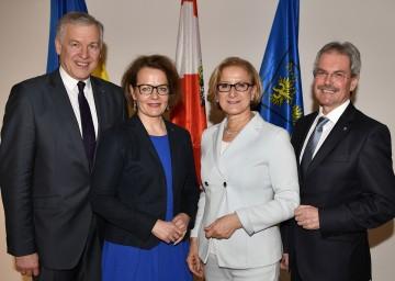 Die designierten Landesräte Martin Eichtinger und Christiane Teschl, Landeshauptfrau Johanna Mikl-Leitner und der designierte Landtagspräsident Karl Wilfing (von links nach rechts).