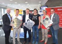 Übergabe der Walk of Fame-Tafeln von Laura Philipp (Winner 2016), Lisa Hütthaler (Winner 2014) und Nils Frommhold (Winner 2017) mit Sport-Landesrätin Petra Bohuslav (2.v.r.)