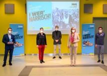 Nach der Pressekonferenz (von links): Geschäftsführer Matthias Pacher, Michaela Dorfmeister, Kurator Christian Rapp, Landeshauptfrau Johanna Mikl-Leitner und Andreas Onea.