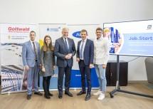 MAG-Geschäftsführer Martin Etlinger (von links), Julia Speiser, Landesrat Martin Eichtinger, AMS-NÖ-Geschäftsführer Sven Hergovich und Philipp Kager