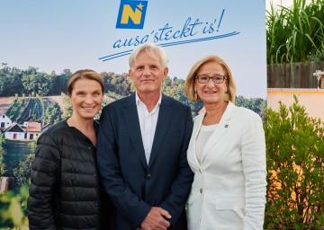 Barbara Stöckl, Fritz Riffer und Landeshauptfrau Johanna Mikl-Leitner