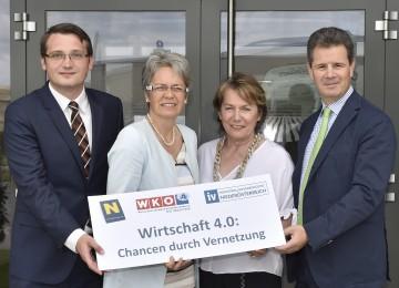 Im Bild von links nach rechts: Mag. Dr. Johann Lefenda von der Pöchhacker Innovation Consulting GmbH, Wirtschaftslandesrätin Dr. Petra Bohuslav, Wirtschaftskammer-Präsidentin Sonja Zwazl und IV-Präsident Thomas Salzer