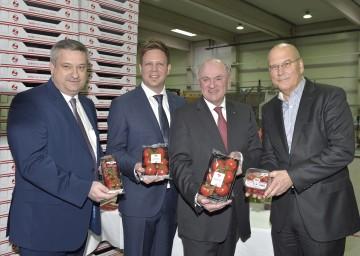 Eröffneten Europas modernstes Tomaten-Glashaus in Enzersdorf an der Fischa: Bürgermeister Markus Plöchl, Geschäftsführer Christian Zeiler, Landeshauptmann Dr. Erwin Pröll und REWE-Vorstandsvorsitzender Frank Hensel (von links nach rechts).