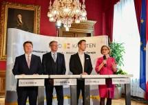 Pressekonferenz im Anschluss an die Landeshauptleute-Konferenz: Bürgermeister Michael Ludwig, Landeshauptmann Peter Kaiser, Bundesminister Gernot Blümel, Landeshauptfrau Johanna Mikl-Leitner.