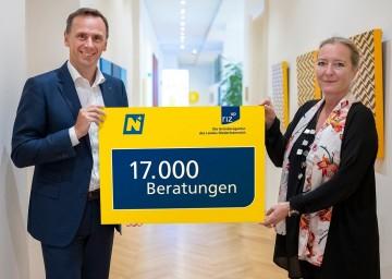 Landesrat Jochen Danninger und riz up Geschäftsführerin Petra Patzelt.