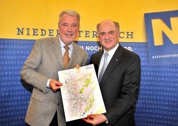 Landeshauptmann Dr. Erwin Pröll und VP-Klubobmann Mag. Klaus Schneeberger präsentierten Infrastrukturmaßnahmen für die Region Wiener Neustadt/Neunkirchen.