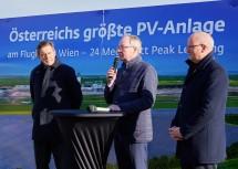 Von links: Stadtrat Peter Hanke, LH-Stellvertreter Stephan Pernkopf und Flughafen-Vorstand Julian Jäger