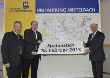 Straßenbaudirektor DI Peter Beiglböck, Bürgermeister DI Dr. Alfred Pohl, Landeshauptmann Dr. Erwin Pröll (v. l. n. r.)