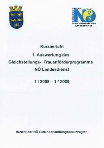 Kurzbericht - 1. Auswertung Gleichstellungs- Frauenförderungsprogramm NÖ Landesdienst 2008-2009 Broschüre
