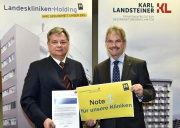 Im Bild von links nach rechts: Dr. Markus Klamminger von der NÖ Landeskliniken-Holding und Landesrat Mag. Karl Wilfing informierten über eine Patientenbefragung in den NÖ Tageskliniken