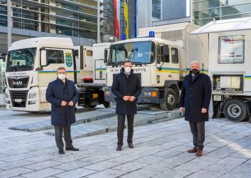 Mobilitätslandesrat Ludwig Schleritzko (v.l.), Wirtschaftslandesrat Jochen Danninger und der für Verkehrsrecht zuständige LHStv. Franz Schnabl