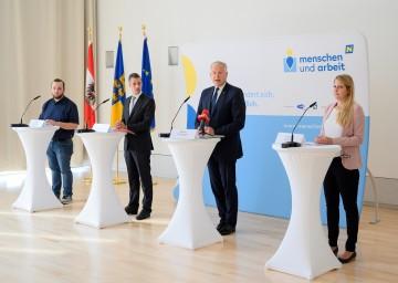 Bei der Pressekonferenz (von links): Josef Heidenbauer (Nah&Frisch Würmla), Geschäftsführer Martin Etlinger (MAG), Landesrat Martin Eichtinger, Beraterin Daniela Sieberer