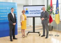 Geschäftsführer Martin Etlinger (MAG Menschen und Arbeit; v.l.), Landeshauptfrau Johanna Mikl-Leitner und Landesrat Martin Eichtinger.