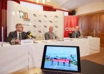 Mobilitätslandesrat Ludwig Schleritzko und Wiener Neustadts Bürgermeister Klaus Schneeberger haben gemeinsam mit Franz Bauer, Vorstandsdirektor der ÖBB-Infrastruktur AG,  das Vorhaben präsentiert (v.l.n.r.)