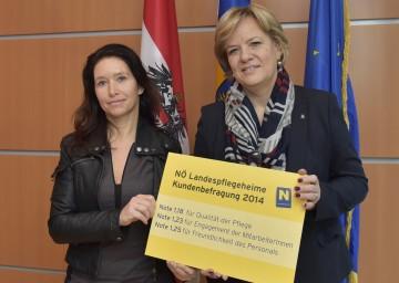 Birgit Starmayr vom Market Institut und Landesrätin Mag. Barbara Schwarz präsentierten die aktuelle Kundenzufriedenheitsanalyse der NÖ Landesheime (von links)