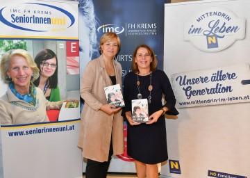 Seniorenuni - Eine einzigartige Erfolgsgeschichte setzt sich fort. Im Bild von links nach rechts: Landesrätin Barbara Schwarz und FH-Krems Geschäftsführerin Ulrike Prommer