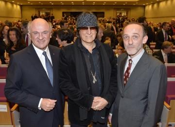 Landeshauptmann Dr. Erwin Pröll mit Gottfried Helnwein und Karl Markovics beim Empfang anlässlich des Landesfeiertages in Grafenegg.